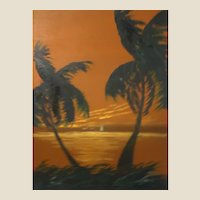 "Florida Highwaymen Artist Isaac Knight Original Signed Oil ""Sunset On The Ocean"" -"