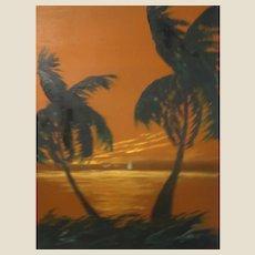 "Florida Highwaymen Artist Isaac Knight Original Signed Oil ""Sunset On The Ocean"" -"