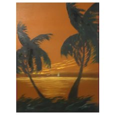 "Florida Highwaymen Artist Isaac Knight - ""Sunset On The Ocean"""