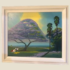 "FLORIDA HIGHWAYMAN Rodney Demps -(American 1953 - 2020) - Original Signed Oil ""Purple Poinciana"""