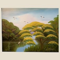 """AL BLACK - An Original Florida Highwaymen Artist -""""Yellow Jacaranda By The River"""" - One-Of=A=Kind Signed Oil"""