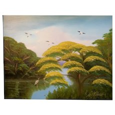 "AL BLACK - An Original Florida Highwaymen Artist -""Yellow Jacaranda By The River"" - One-Of=A=Kind Signed Oil"