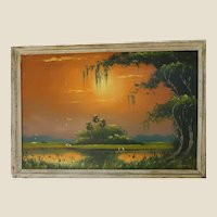 ORIGINAL FLORIDA HIGHWAYMEN Lemuel Newton (American 1950 – 2014) - Marvelous Signed Original Oil