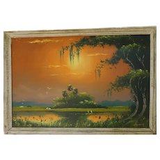 ORIGINAL FLORIDA HIGHWAYMEN Lemuel Newton (American 1950 – 2014) - Marvelous Signed Original Oil