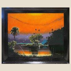 "Original Highwayman John Maynor (American  1948 – 2016) - Signed Original Oil ""Fire Sky"" -"