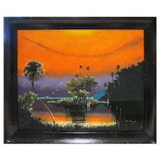"Original Highwayman John Maynor (American  1948 – 2016) - Signed Original Oil ""Fire Sky"" -"