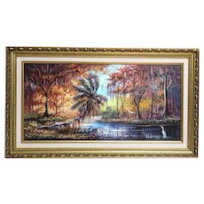 "ORIGINAL HALL OF FAME HIGHWAYMEN Robert L. Lewis - Magnificent Signed Oil Painting On Canvas ""Autumn Comes To St. Lucie River"""