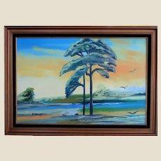 "FLORIDA HIGHWAYMEN Rodney Demps -(American 1953 - 2020) - Outstanding Large  Original Signed Oil  ""Paradise"""