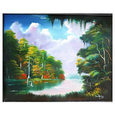 """Florida Highwaymen Style Artist PAT ROLLINS (American 20th - 21st Century) - Original Signed Oil On Canvas """"Pink Clouds Over A Jacaranda Tree"""""""