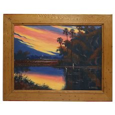 "WILLIE DANIELS (American Born 1950) - Florida Highwaymen Original Signed Oil Painting  ""Sunset Over The River """