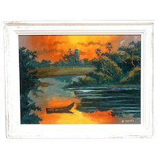 "Hall of Fame Original Florida Highwaymen WILLIE DANIELS (American Born 1950) -  Original Signed Oil Painting ""Fire Sky"""