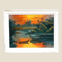 "WILLIE DANIELS (American Born 1950) - Florida Highwaymen Original Signed Oil Painting ""Fire Sky"""