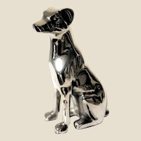 Modernistic Shiny Metal Seated Dog