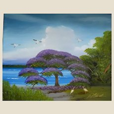 "AL BLACK - An Original Signed Florida Highwaymen Artist -Al Black - ""Purple Jacaranda On The St. Lucie River"""