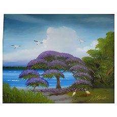 "AL BLACK - An Original Signed Florida Highwaymen Artist -Al Black - ""Purple Jacaranda On The St. Lucie River"""