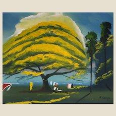 "FLORIDA HIGHWAYMAN Rodney Demps -(American 1953 - 2020) - Original Signed Oil ""Yellow Poinciana"""