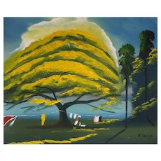 "FLORIDA HIGHWAYMAN Rodney Demps -(American 1953 - 2020) - Original Signed Oil ""Yellow Poinciana"""