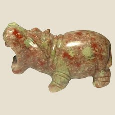 Hand-Carved Miniature Hippo of Unakite