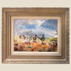 """Original Signed Oil On Canvas - """"Freedom"""" - Wonderful Western Art - Horses Galloping Free - by Ruth Anderson."""