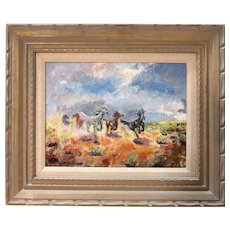 "Original Signed Oil On Canvas - ""Freedom"" - Wonderful Western Art - Horses Galloping Free - by Ruth Anderson."
