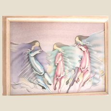 """Surreal Beauty! HUGE Original Signed Mixed Media Painting """"Riders In The Sky"""""""