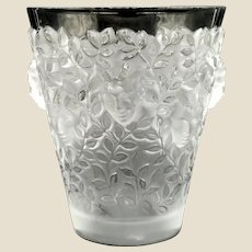 """LALIQUE  (France) - Exquisite  Clear and Frosted Numbered Vase """"Silenes"""" With Original Box and Lalique Card"""