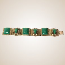 Sterling Silver Bracelet With Carved Hardstones Montezumas, From Mexico