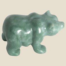 JADE - Hand-Carved Miniature Bear, Symbol of Strength and Wisdom