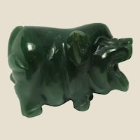 JADE Hand-Carved Miniature Piglet - Beautiful Deep Green