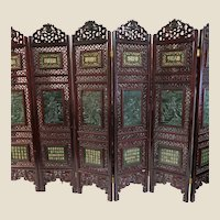 JADE and Hardwood Very Large Carved Six Panel Chinese Floor Screen - Truly Magnificent.