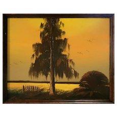 "Original Florida Highwayman JAMES GIBSON (American 1938-2017) - Original Signed Oil ""The Cypress Tree On VIP Island"""