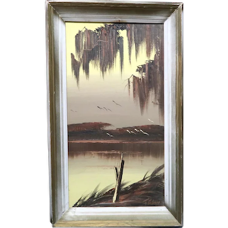 """Original Highwaymen JAMES GIBSON (American 1938 - 2017) - Original Signed Oil on Board """"Cloudy Afternoon"""""""