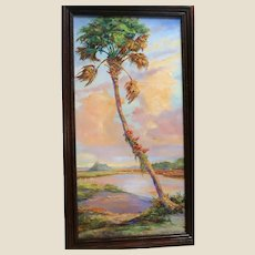 """HALL OF FAME ARTIST James F. Hutchinson (American b. 1932) - Museum Quality -""""The Lone Palm"""""""