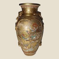 Japanese Meiji/Taisho Period Satsuma Pottery Vase with Lion and Ribbon Handles