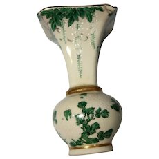 Japanese Satsuma Miniature Vase With Green Leaves And Branches, And Beautiful Flowers in  Relief In White