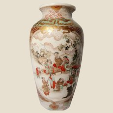 Japanese Gilt Hand-Painted and Enameled Ceramic Vase
