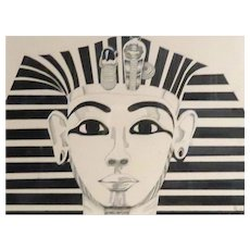 """""""King Tut""""  - Signed Mixed Media , Nicely Double Matted and Framed - Great Conversation Piece!"""