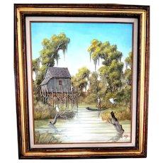 JOE GIBBS (American 1948 - 1998) - Original Signed Oil on Canvas - Wonderful Scene by Noted Florida Artist! Highwaymen Style.