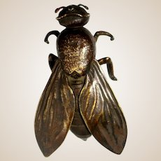 Japanese Meiji Period Bronze Fly, Base With Seal