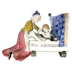 """KARL ENS - Well-Loved Hand-Painted German Porcelain - Very Sweet  """"Mother and Child"""""""