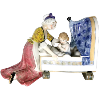 "KARL ENS - Well-Loved Hand-Painted German Porcelain - Very Sweet  ""Mother and Child"""