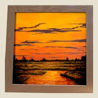 """""""Marsh Sunset"""" -Original Signed Oil Painting By Very Promising  Contemporary Artist, Carolann Knapp,  Style of the Indian River School and the Style of the Florida Highwaymen"""