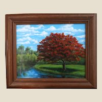 """Excellent Original Signed Oil Painting By Up and Coming Contemporary Artist, Carolann Knapp,  """"Poinciana Reflections"""""""
