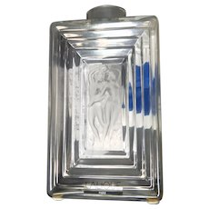 "LALIQUE  (France) - Exquisite  Clear and Frosted ""Duncan"" Large Perfume Bottle With Original Box and Lalique Cards"