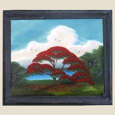 """AL BLACK - An Original Florida Highwaymen Artist -""""Red Royal Poinciana"""" - One-Of=A=Kind Signed Oil"""