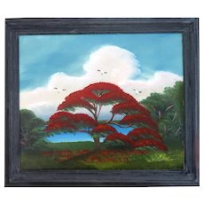 "AL BLACK - An Original Florida Highwaymen Artist -""Red Royal Poinciana"" - One-Of=A=Kind Signed Oil"