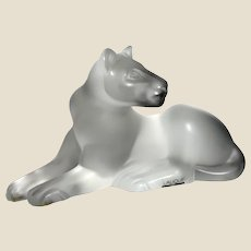 "LALIQUE (France) - Clear and Satin Finished Frosted Crystal ""Simba"" LARGE Lioness, Signed,  In Original Box - Mint Condition"