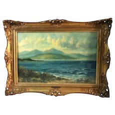 """William Langley (British, 1880-1920s) - Signed Original Oil on Canvas """"By The Lake"""""""