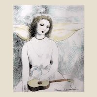 Marie Laurencin (French, 1885-1956). Jeune Fille à la Guitare. Etching with Hand Coloring, Listed