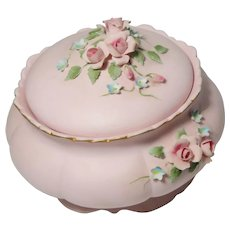 Lovely Applied Flowers Adorn This Powder Box or Dresser Box or Jewelry Box or Trinket Box By Lefton China
